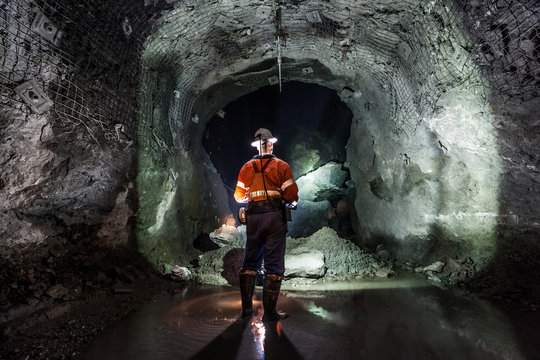 Miner underground at a copper mine in NSW, Australia