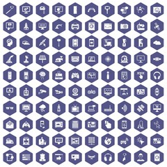 100 software icons set in purple hexagon isolated vector illustration
