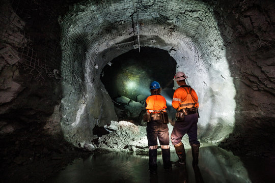 Miners underground at a copper mine in NSW, Australia