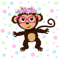 poster with cute monkey and flowers - vector, illustration, eps