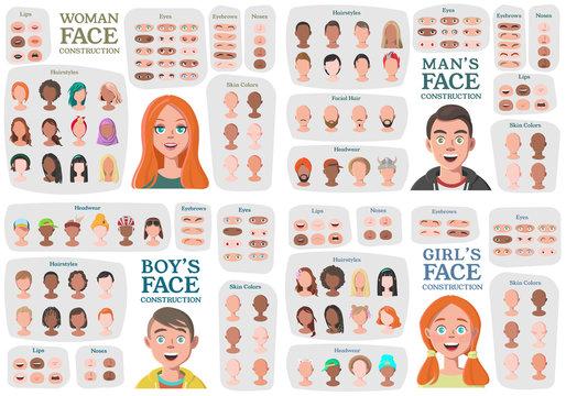 Woman, Man, Girl, Boy Character Constructors