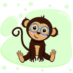 Fotobehang Zoo poster with cute monkey boy - vector, illustration, eps