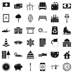 Villa for sale icons set. Simple style of 36 villa for sale vector icons for web isolated on white background