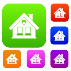 House set icon in different colors isolated vector illustration. Premium collection