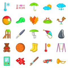 School games icons set. Cartoon set of 25 school games vector icons for web isolated on white background