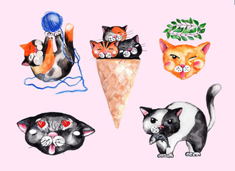 Drawing cats in watercolor.  Set of stickers.