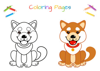 Funny little dog. Coloring book. Educational game for children. Cartoon vector illustration