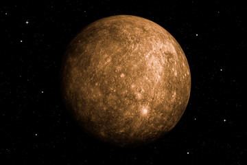 3d rendering of Mercury planet with deep space background. Surface texture furnished by NASA. Fototapete