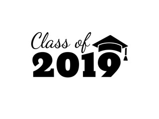 Class of 2019. Black number with education academic caps. Template for graduation design, high school or college congratulation graduate, yearbook. Vector illustration.
