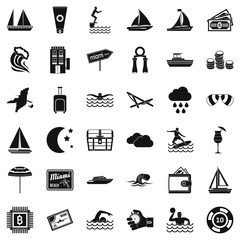Swim in water icons set. Simple style of 36 swim in water vector icons for web isolated on white background