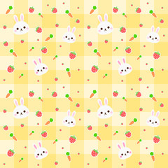 seamless pattern rabbit, carrot and strawberry