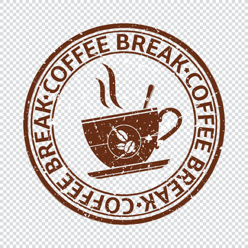 Coffee break stamp isolated on transparent background