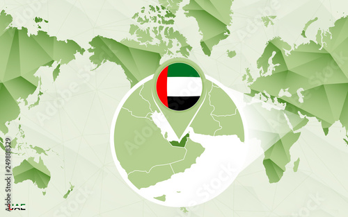 America centric world map with magnified United Arab Emirates map ...