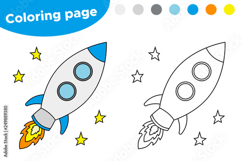 photo about Rocket Printable named Printable coloring webpage with rocket. Instructive match for