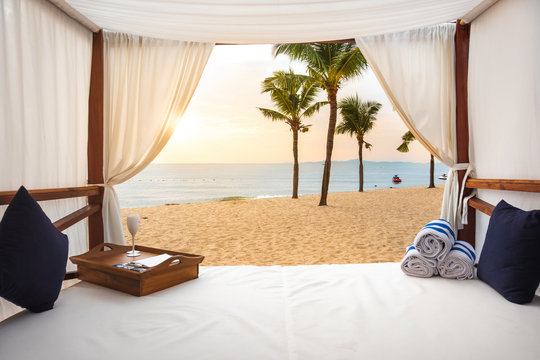 Luxury bed on a beach