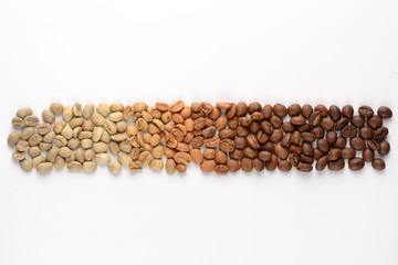 Coffee beans with different types of roast
