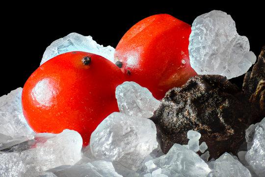 Salt Crystals and Peppercorns