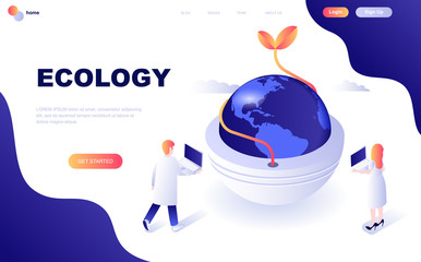 Modern flat design isometric concept of Ecology Earth decorated people character for website and mobile website development. Isometric landing page template. Vector illustration.