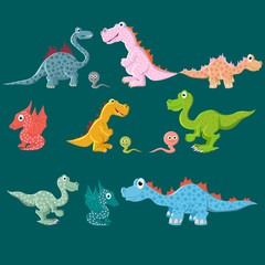 A variety of dinosaurs, carnivores and herbivores. Vector illustration.