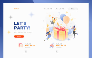 Lets Party Website Header Template