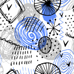 Beautiful vector seamless pattern in simple scandinavian style in black, blue, gray colors on white background. Abstract hand drawn ink shapes. Repeating wallpaper. Trendy background design.