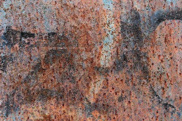Close up surface of aged and weathered rusty metal surfaces in high resolution
