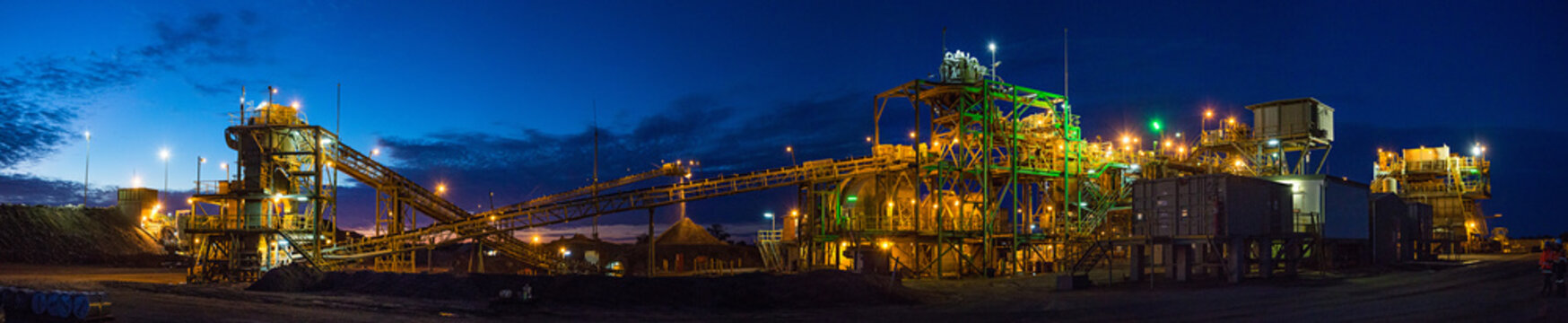 Night view of a copper mine head in NSW Australia