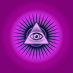 Sacred Masonic symbol. All Seeing eye, the third eye (The Eye of Providence)  inside triangle pyramid. New World Order. Hand-drawn alchemy, religion, spirituality, occultism. Vector isolated or purple