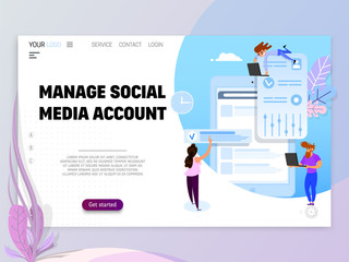 Manage Social Media Account - concept. Tiny people manage the project
