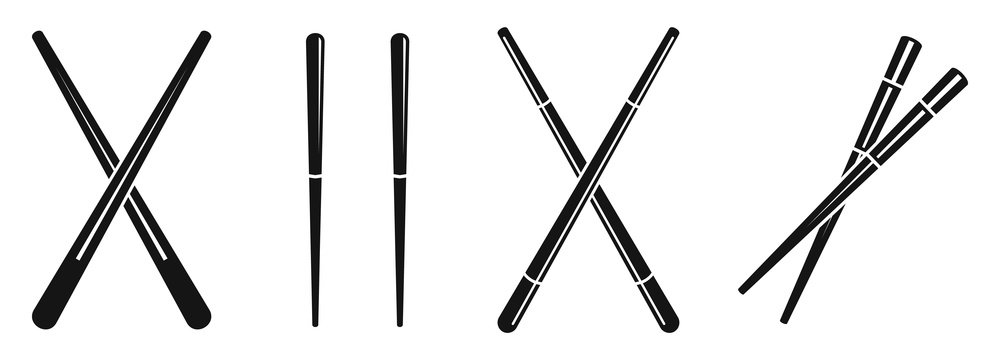 Japanese chopsticks icons set. Simple set of japanese chopsticks vector icons for web design on white background