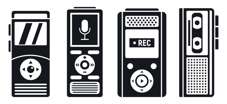 Dictaphone recorder icons set. Simple set of dictaphone recorder vector icons for web design on white background
