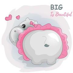 cute cartoon hippo with tutu
