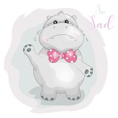 cute cartoon hippo so sad