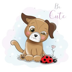 cute cartoon puppy  with ladybug