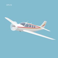Small plane vector illustration. Single engine propelled passenger aircraft.