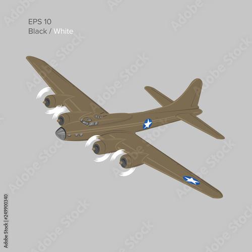 Vintage world war 2 legendary heavy bomber vector  Old retro