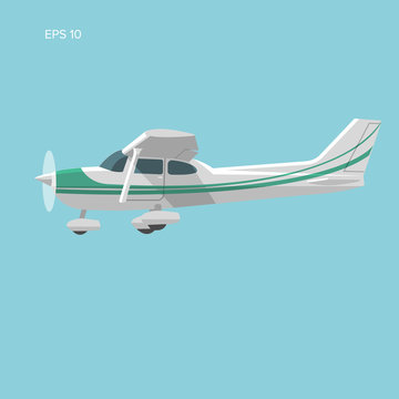 Small plane vector illustration. Single engine propelled passenger aircraft.