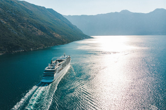 aerial view of cruise liner in sea bay