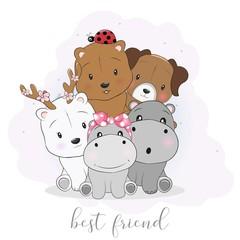 Cute best friend cartoon animals