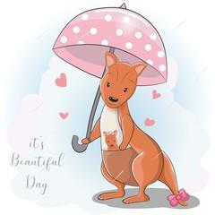 cute cartoon kangaroo with umbrella under the rain