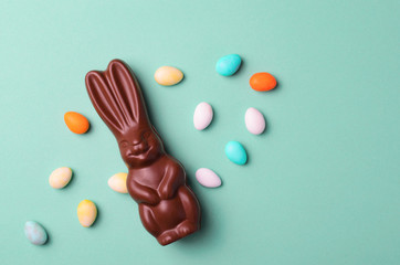 Chocolate Bunny on Bright Background, Easter Treat