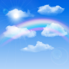 Sunny background, blue sky with white clouds and rainbow, vector illustration