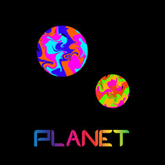 colored planet on black background logo vector