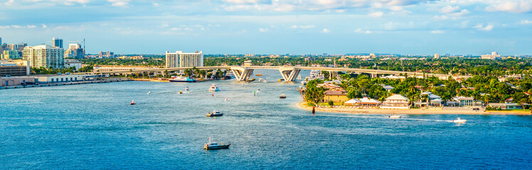 Wall Mural - Panoramic view of port Everglades, Ft Lauderdale, Florida.