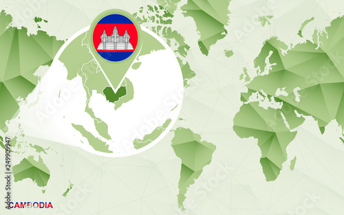America Centric World Map With Magnified Cambodia Map Stock Image
