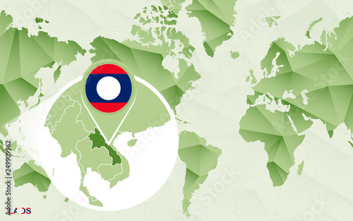Laos On A World Map.America Centric World Map With Magnified Laos Map Stock Image And