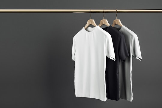 Empty shirts on hanger