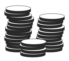 Illustration of coins in retail style on a white background