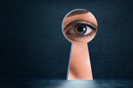 Abstract keyhole with eye