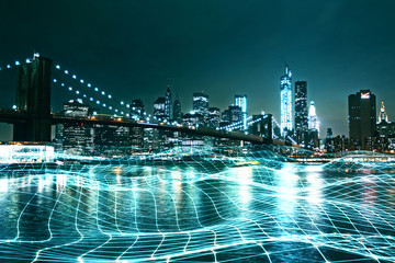 City backdrop with grid